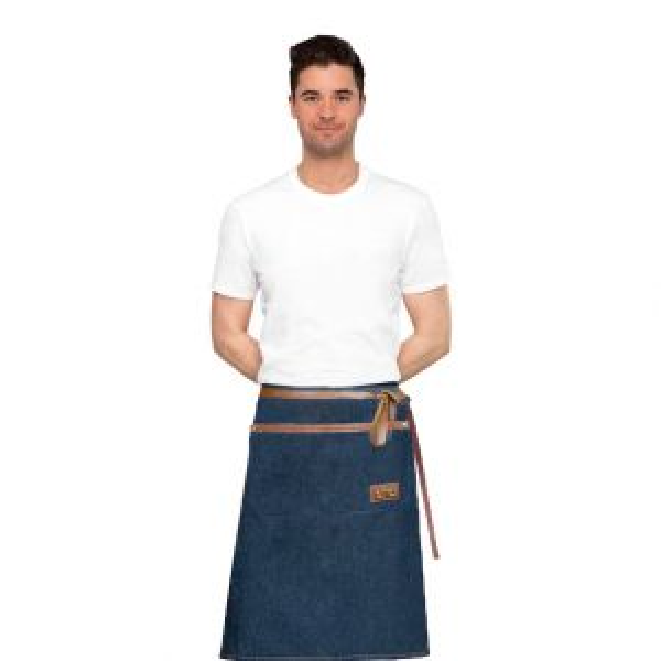 Avental de Cintura Jeans e Couro Barista Chef Bartender 1un 1